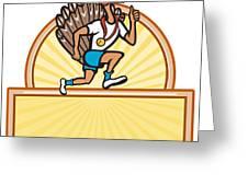 Turkey Run Runner Side Cartoon Isolated Greeting Card by Aloysius Patrimonio