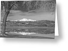 Twin Peaks Longs And Meeker Lake Reflection Bw Greeting Card