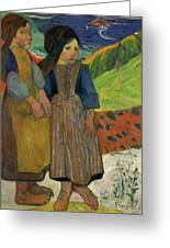 Two Breton Girls By The Sea Greeting Card