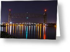 Two Bridges At Night Greeting Card