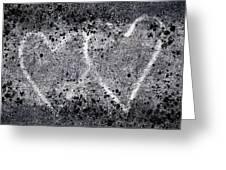 Two Hearts Graffiti Love Greeting Card