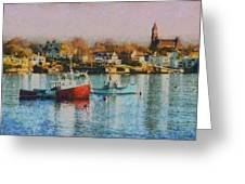 Two Lobster Boats On Marblehead Harbor With A Red Sky Greeting Card