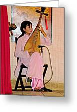 Two-stringed Lute Player At Wedding Ceremony Show In Binh Quoi Village-vietnam  Greeting Card