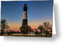 Tybee Light Sunset Greeting Card