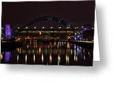 Tyne Bridge At Night Greeting Card