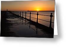 Tynemouth Pier Sunrise Greeting Card