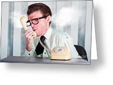 Unhappy Nerd Businessman Yelling Down Retro Phone Greeting Card