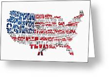 United States Typographic Map Flag Greeting Card
