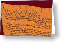 Us Constitution Closeup Sculpture Violet Red Background Greeting Card by L Brown