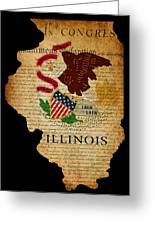Usa American Illinois State Map Outline With Grunge Effect Flag  Greeting Card by Matthew Gibson