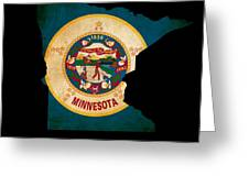 Usa American Minnesota State Map Outline With Grunge Effect Flag Greeting Card