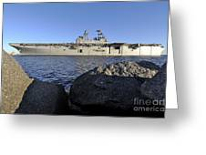 Uss Bataan Arrives At Naval Station Greeting Card