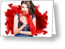 Valentines Day Woman Eating Heart Candy Greeting Card