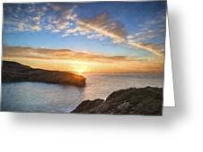 Van Gogh Style Digital Painting Beautiful Vibrant Sunrise Over Rocky Coastline Greeting Card