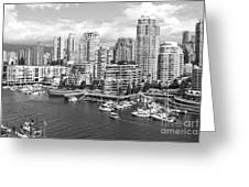 Vancouver Bc Downtown Skyline At False Creek Canada Greeting Card