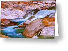 Vibrant Colored Rocks Verzasca Valley Switzerland Greeting Card