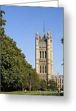 Victoria Tower And The Palace Of Westminster In London England Greeting Card