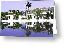View Of The Cottages And Lagoon Water In Alleppey Greeting Card
