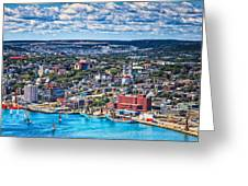 View Of The St. John's Newfoundland From Signal Hill Greeting Card