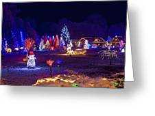 Village In Christmas Lights Panoramic View Greeting Card