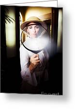 Vintage Archaeologist With Large Magnifying Glass Greeting Card