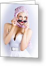 Vintage Blond Beauty In Pinup Fashion Accessories Greeting Card