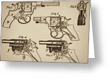 Vintage Colt Revolver Drawing  Greeting Card