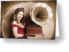 Vintage Pin-up Girl Listening To Record Player Greeting Card