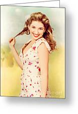 Vintage Pinup Woman With Pretty Make-up And Hair Greeting Card