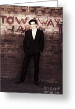 Vintage Salesman Standing In Front Of Brick Wall Greeting Card