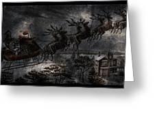 Vintage Santa Stormy Midnight Ride Reindeer Sleigh Greeting Card