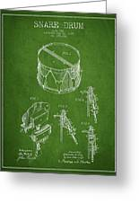 Vintage Snare Drum Patent Drawing From 1889 - Green Greeting Card