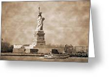 Vintage Statue Of Liberty Greeting Card