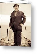 Vintage Traveling Business Man Greeting Card