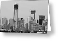 1 W T  C  And Lower Manhatten In Black And White Greeting Card