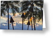 Waikiki Sunset Torches Greeting Card