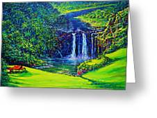 Waimea Falls L  Greeting Card