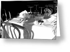 Waiting For Diners Bw Greeting Card
