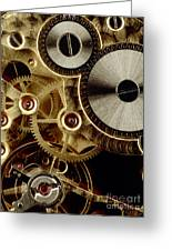 Watch Mechanism. Close-up Greeting Card