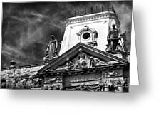 Watching Over The Square Greeting Card by John Rizzuto