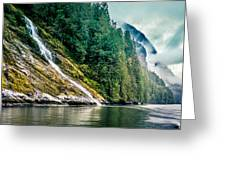 Waterfall Jervis Inlet Greeting Card