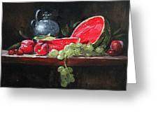 Watermelon And Plums Greeting Card by Ellen Howell