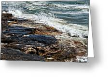 Waves Break On The Rocks. Greeting Card by Alexandr  Malyshev