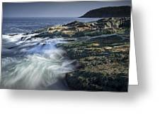 Waves Crashing Against The Shore In Acadia National Park Greeting Card