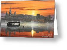 Wawel Sunrise Krakow Greeting Card