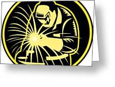 Welder With Welding Torch Visor Retro Greeting Card