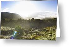 West Coast Range Landscape In Tasmania Australia Greeting Card