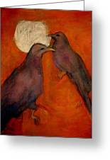 When Crow Made The Moon Greeting Card by Johanna Elik