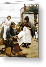 When The Boats Are Away Greeting Card by Walter Langley