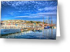 White Jetty Walkway Leading To Boats And Yachts In A Marina With Blue Sky And Reflections Greeting Card